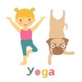 Little girl and pug doing yoga Stock Image