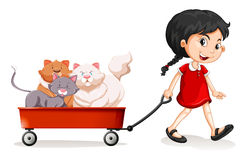 Little girl pulling cart with cats on it Royalty Free Stock Photo