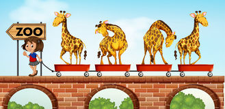 Little girl pulling carts with giraffe to the zoo Stock Photo