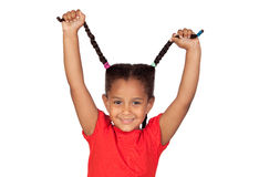 Little girl pulling their long tresses Royalty Free Stock Photo