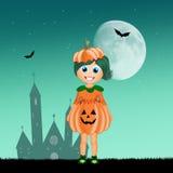 Little girl with pumpkin costume Stock Photos