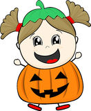 Little girl with pumpkin costume Royalty Free Stock Image
