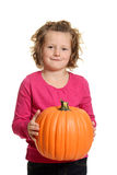 Little girl with pumpkin Royalty Free Stock Photo