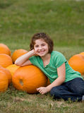 Little Girl in a Pumpkin Patch Royalty Free Stock Image