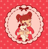 Little girl with puppy Stock Images