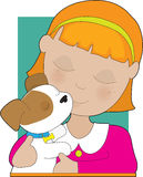 Little Girl and Puppy Royalty Free Stock Image