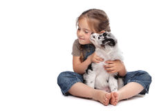 Little girl and a puppy royalty free stock photography