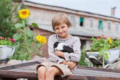 Little girl with the puppy Royalty Free Stock Photo