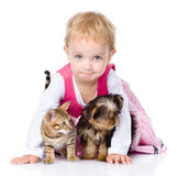Little girl with a puppy and a kitten. isolated on white Royalty Free Stock Photos