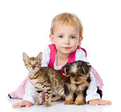 Little girl with a puppy and a kitten. isolated Royalty Free Stock Photos