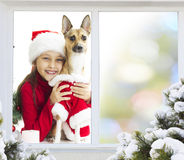 Little girl and a puppy Royalty Free Stock Images