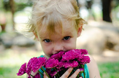 Little girl with purple flowers bouquet looking at camera Stock Photos