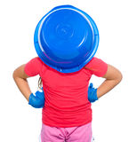 Little girl put a blue bucket on her head Stock Images