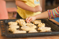 Little girl puts hand made biscuits on baking tray stock photography