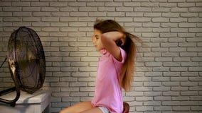 Little girl fan stock video