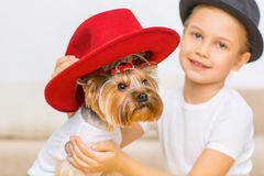 Little girl is putting red hat on her dog. Royalty Free Stock Photos
