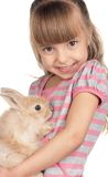 Little girl with rabbit Royalty Free Stock Photos