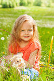 Little girl with rabbit in the basket Royalty Free Stock Photography