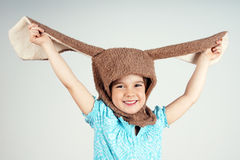 Little girl with rabbit costume Royalty Free Stock Photography