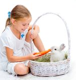 Little girl with a rabbit Stock Photography