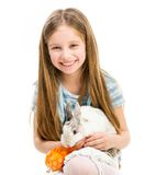 Little girl with rabbit Royalty Free Stock Photography