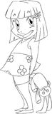 Little Girl With Rabbit Doll Coloring Page. A Vector illustration coloring page of a little girl holding a rabbit doll behind her back and smiling vector illustration