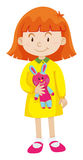 Little girl with rabbit doll. Illustration Stock Photography