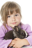 Little girl with rabbit Stock Photography