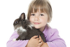 Little girl with rabbit Royalty Free Stock Image