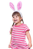 Little girl with rabbit ears Royalty Free Stock Photo