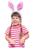 Little girl with rabbit ears Stock Photo