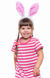 Little girl with rabbit ears Stock Photos