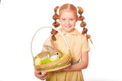 Little girl with rabbit in  hands Royalty Free Stock Photography