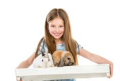 Little girl with rabbits Stock Photo