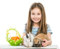 Little girl with rabbits Royalty Free Stock Photography