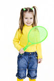Little girl with racket. Little girl with tennis's racket Royalty Free Stock Photos