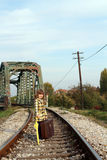Little girl on railroad Royalty Free Stock Image
