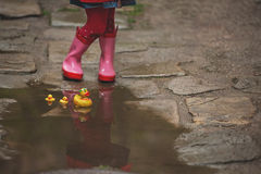 Little girl  in rain boots playing with yellow rubber ducks in a Royalty Free Stock Image