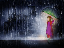 Little girl in the rain. A little girl in the rain on a dark city street holding an umbrella to shelter her from the storm stock illustration