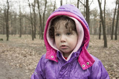 Little girl in the rain forest. Stock Photography