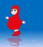 Little girl in the rain Stock Photography