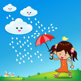 Little girl in the rain Royalty Free Stock Photos