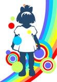 Little girl and rainbow Stock Photos