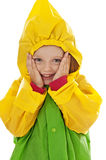 Little girl with raincoat Stock Photography