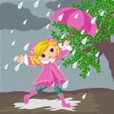 Little girl on Rainy Day Stock Images