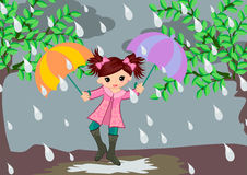 Little girl on Rainy Day. Little girl in rainy day illustrations vector concept. Rain season concept Royalty Free Stock Images