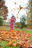 Little girl rake autumn leaves in garden stock images