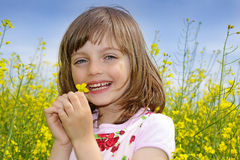 little girl with rapeseed flower Stock Photography
