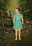 Little girl and raven Royalty Free Stock Images