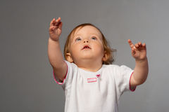 Little Girl Reachs Out Her S Hands. Stock Photography